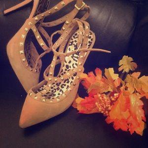 Tan Gold Studded Strap Stiletto